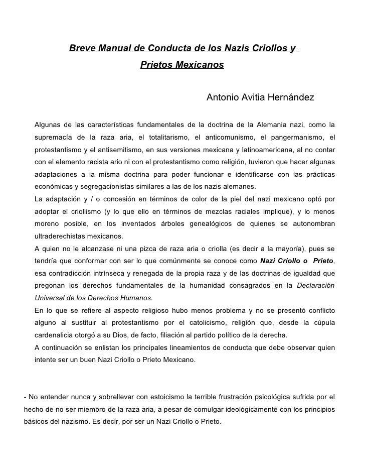 Breve Manual de Conducta de los Nazis Criollos y                                      Prietos Mexicanos                   ...