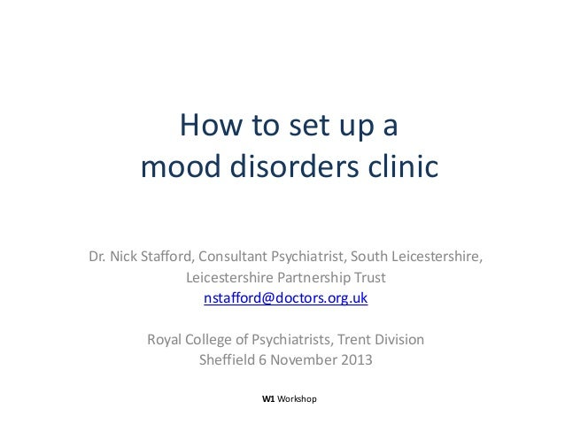 How to set up a mood disorders clinic Dr. Nick Stafford, Consultant Psychiatrist, South Leicestershire, Leicestershire Par...