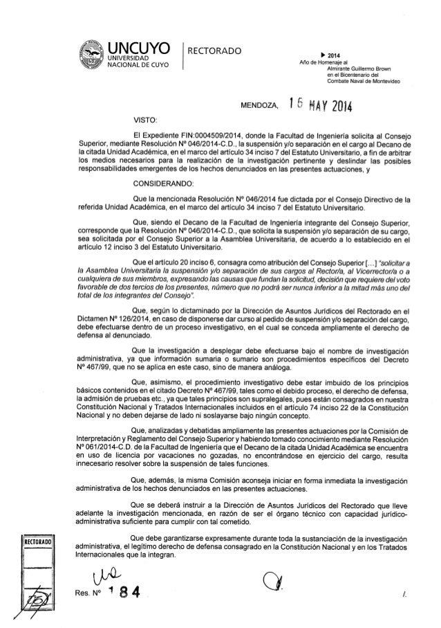 Resolución 184 Rectorado UNCuyo