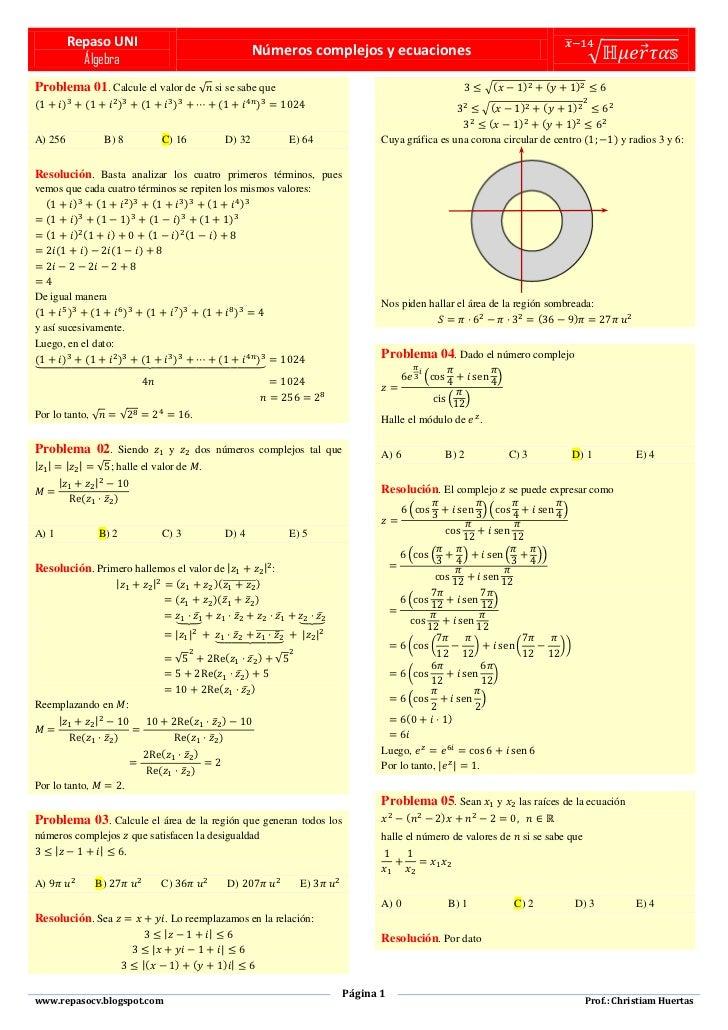 Números complejos y ecuaciones