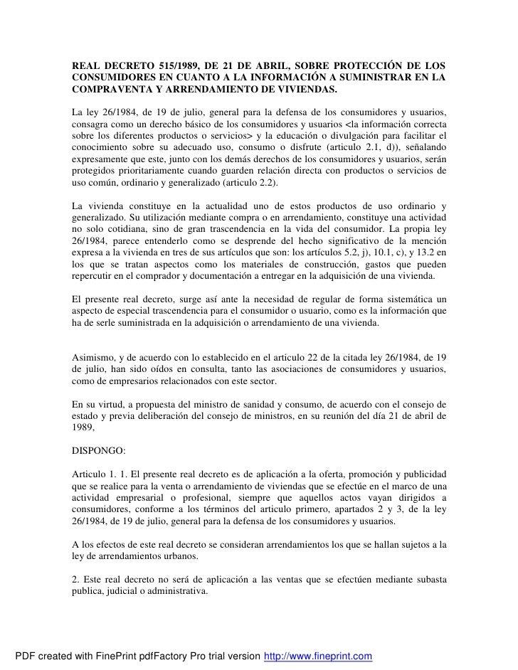 REAL DECRETO 515/1989, DE 21 DE ABRIL, SOBRE PROTECCIÓN DE LOS             CONSUMIDORES EN CUANTO A LA INFORMACIÓN A SUMIN...