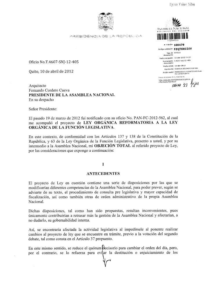 Objeción Total al Proyecto de Ley Orgánica Reformatoria a la Ley Orgánica de la Función Legislativa