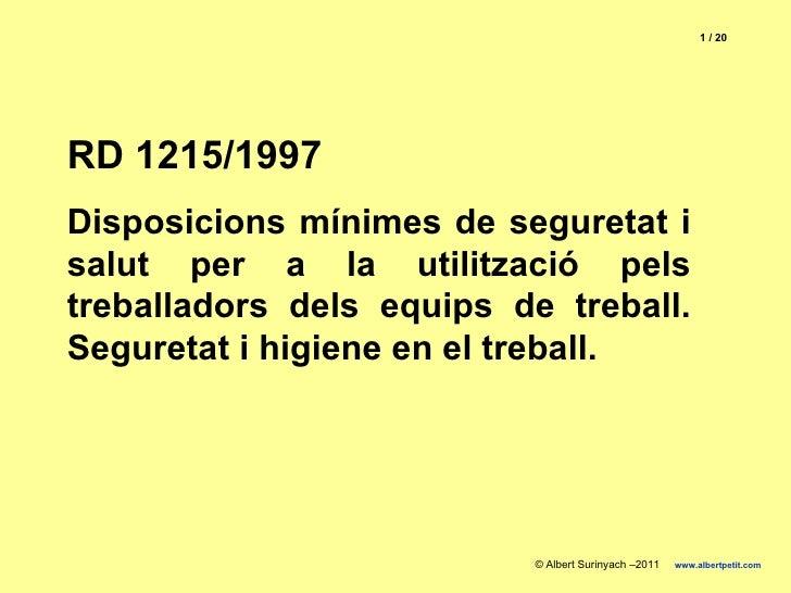Rd 1215 1997 utilització dels equips de treball