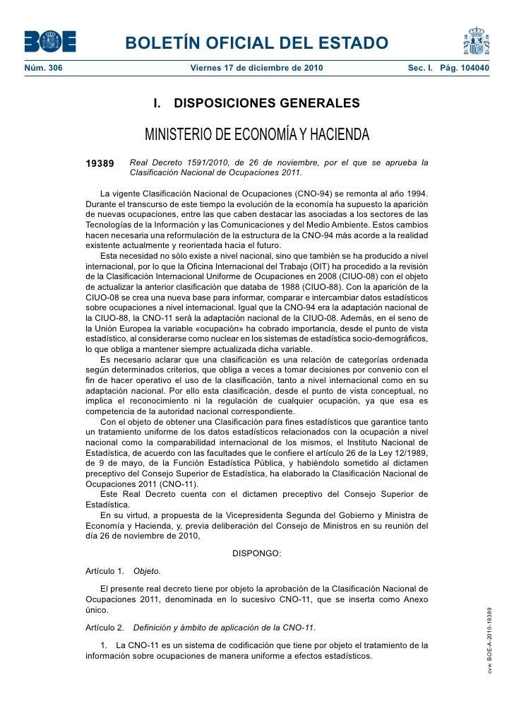BOLETÍN OFICIAL DEL ESTADONúm. 306                                Viernes 17 de diciembre de 2010                         ...