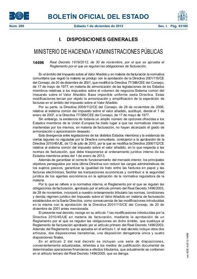 Rd 1619 2012 30 nov reglamento obligaciones de facturación