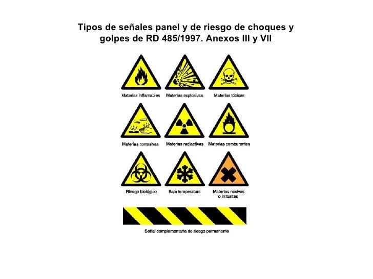 Tipos de señales panel y de riesgo de choques y golpes de RD 485/1997. Anexos III y Vll