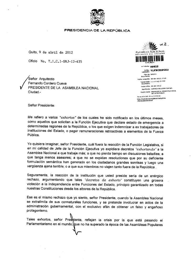 Oficio sobre exhortos suscrito por el Presidente de la República, Rafael Correa Delgado