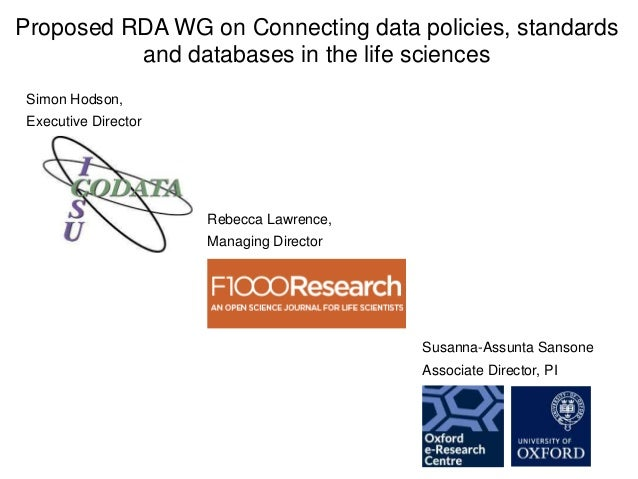 RDA WG proposal on connecting data policies, standards & databases in life sciences