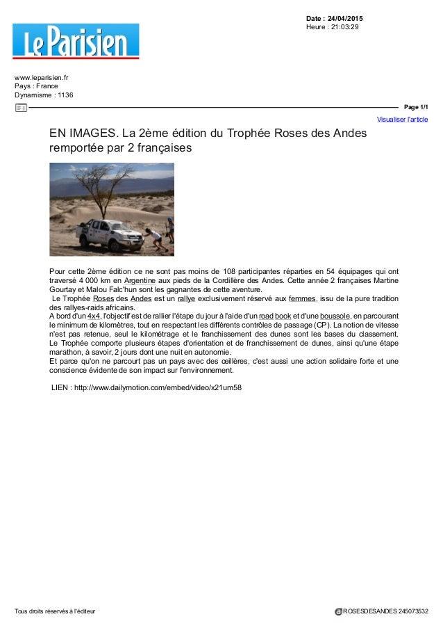 Date : 24/04/2015 Heure : 21:03:29 www.leparisien.fr Pays : France Dynamisme : 1136 Page 1/1 Visualiser l'article Tous dro...