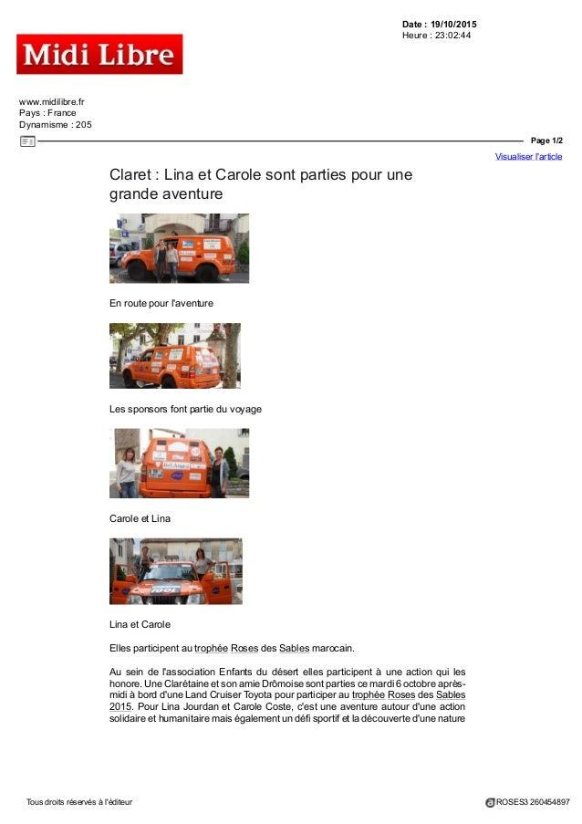 Date : 19/10/2015 Heure : 23:02:44 www.midilibre.fr Pays : France Dynamisme : 205 Page 1/2 Visualiser l'article Tous droit...