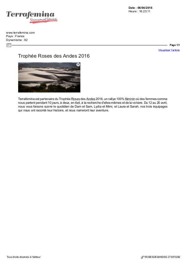 Date : 06/04/2016 Heure : 16:23:11 www.terrafemina.com Pays : France Dynamisme : 82 Page 1/1 Visualiser l'article Tous dro...