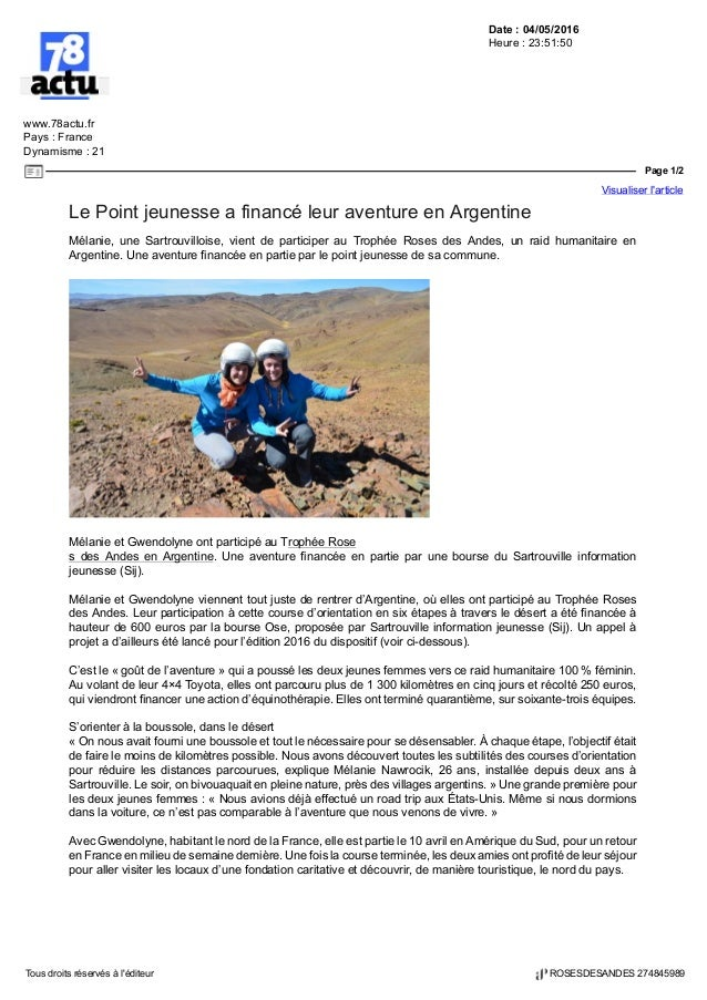 Date : 04/05/2016 Heure : 23:51:50 www.78actu.fr Pays : France Dynamisme : 21 Page 1/2 Visualiser l'article Tous droits ré...