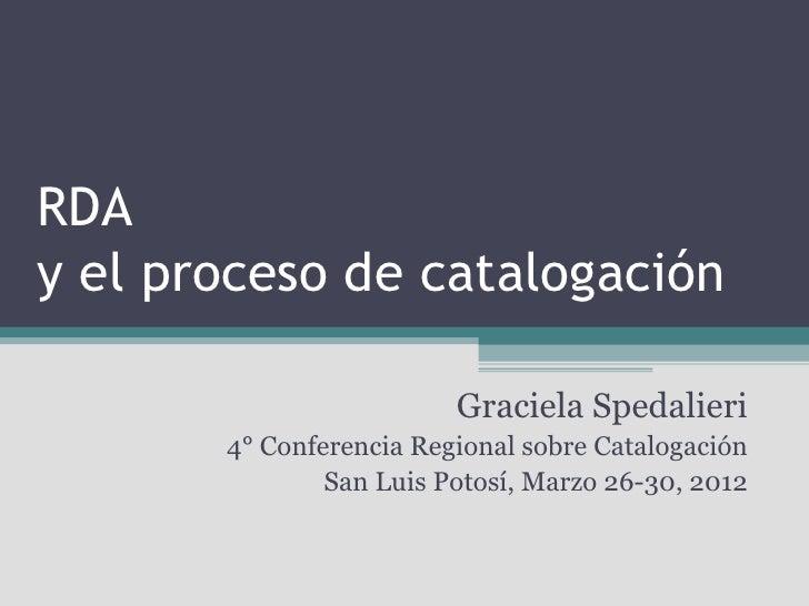 RDA y el proceso de catalogación