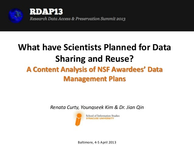 What have Scientists Planned for Data        Sharing and Reuse?  A Content Analysis of NSF Awardees' Data             Mana...