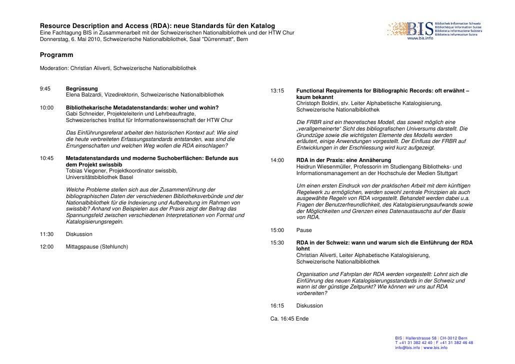 Programm Fachtagung RDA 6. Mai 2010