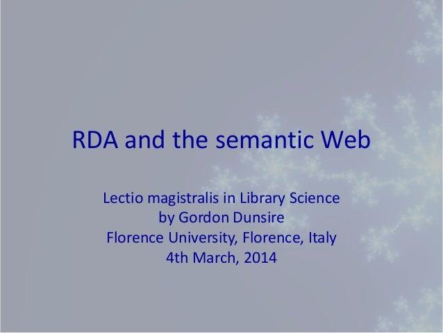 RDA and the semantic Web