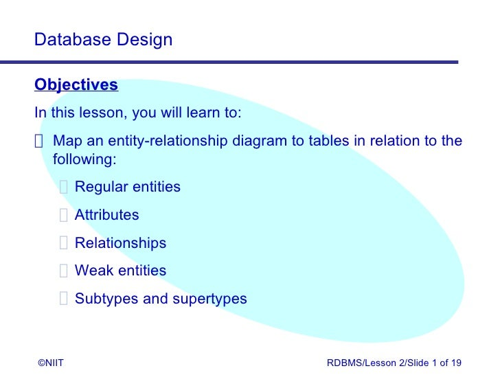 Database DesignObjectivesIn this lesson, you will learn to: Map an entity-relationship diagram to tables in relation to th...