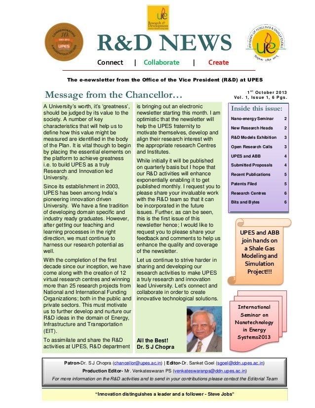 R&D NEWS Connect  |  Collaborate  |  Create  The e-newsletter from the Office of the Vice President (R&D) at UPES  Message...