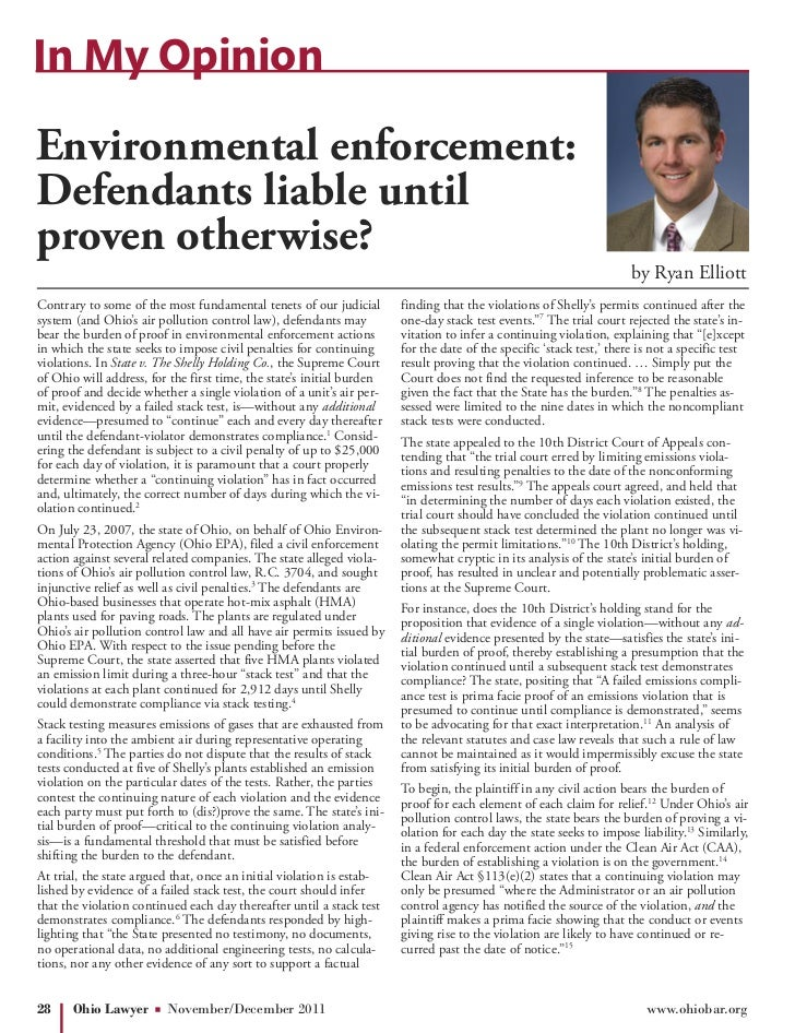 In My OpinionEnvironmental enforcement:Defendants liable untilproven otherwise?                                           ...