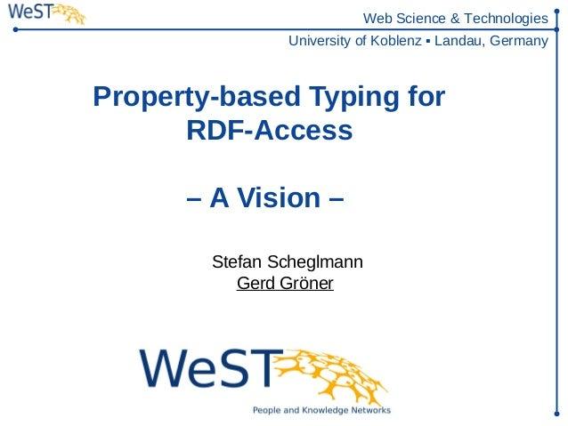 Web Science & Technologies                University of Koblenz ▪ Landau, GermanyProperty-based Typing for      RDF-Access...