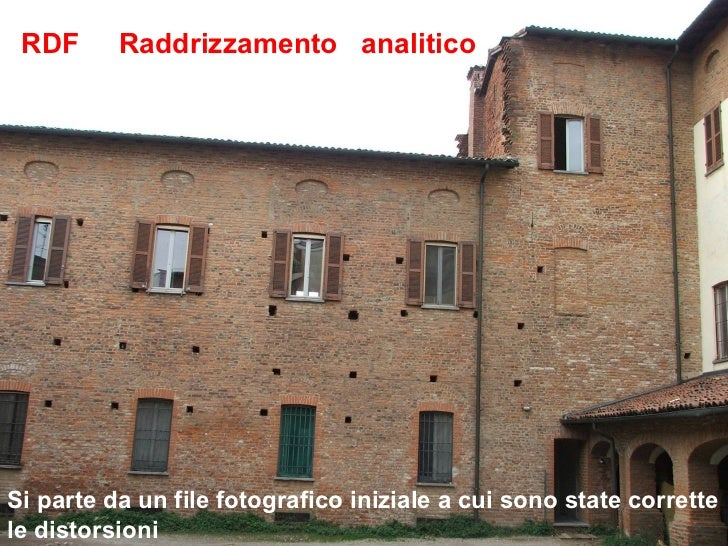 RDF      Raddrizzamento analiticoSi parte da un file fotografico iniziale a cui sono state correttele distorsioni