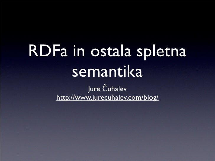 RDFa in ostala spletna semantika