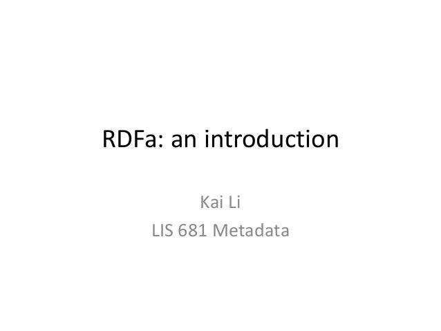 RDFa: an introduction