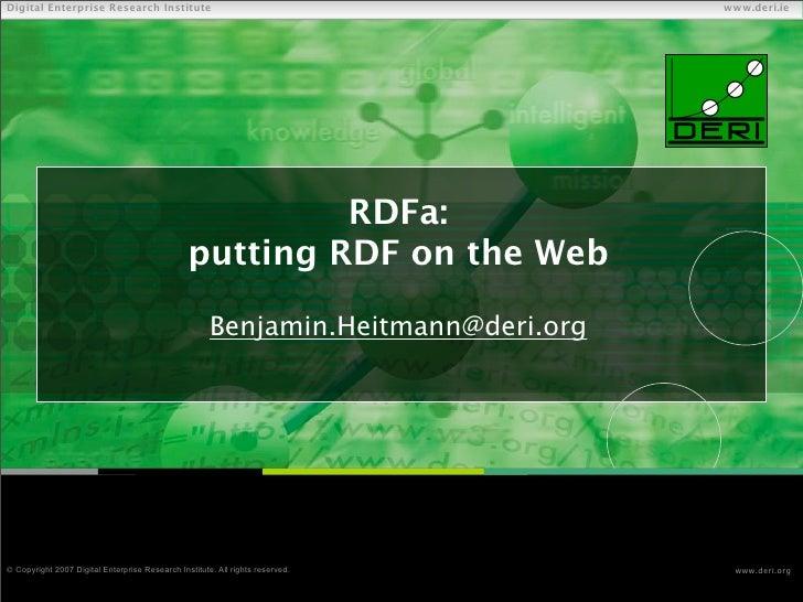 RDFa: putting RDF on the Web