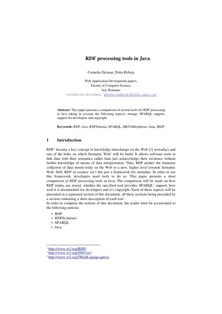 RDF processing tools in Java                                 Corneliu Dicusar, Petru Rebeja                          Web A...