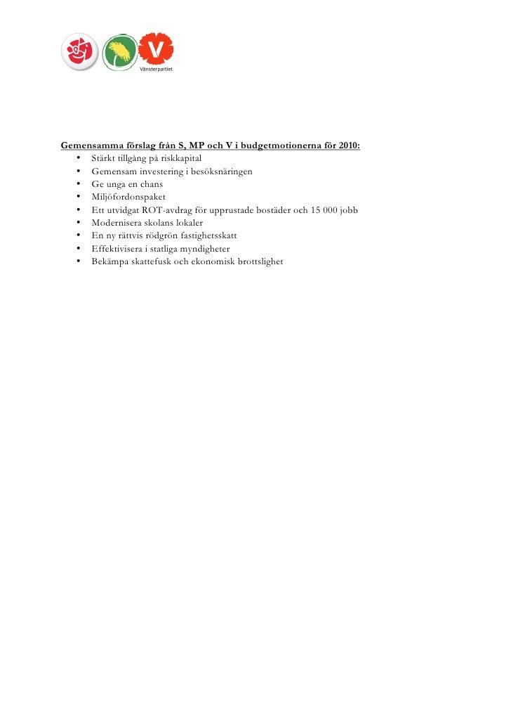 Rod grona gemensamma forslag for jobb och rattvisa