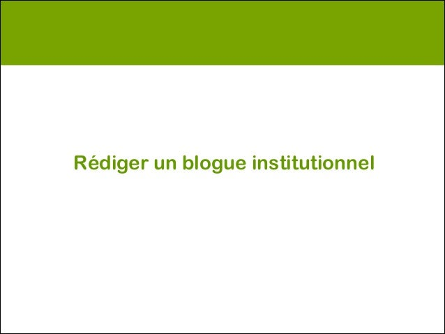 Rédiger un blogue institutionnel
