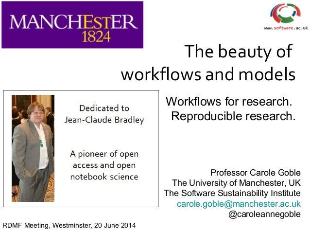 The beauty of workflows and models Workflows for research. Reproducible research. Professor Carole Goble The University of...