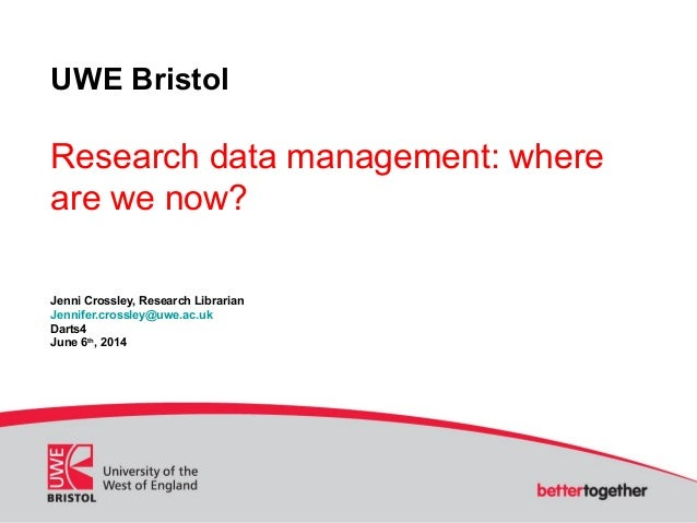 """Research data management: where are we now?"" Jenni Crossley, DARTS4"