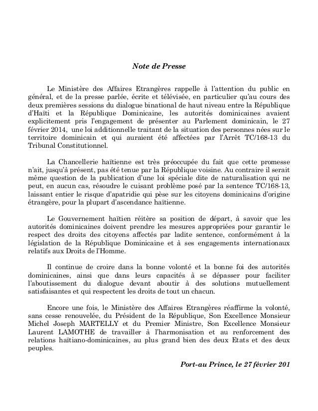 NOTE DE PRESSE DU MINISTERE DES AFFAIRES ETRANGERES D'HAITI SUR LES APATRIDES EN REPUBLIQUE DOMINICAINE