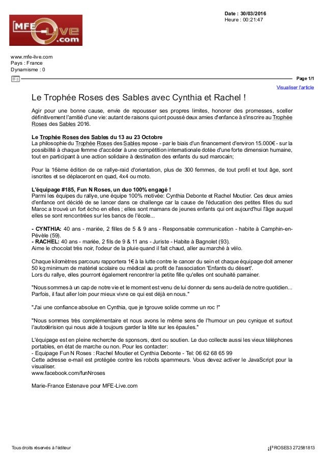 Date : 30/03/2016 Heure : 00:21:47 www.mfe-live.com Pays : France Dynamisme : 0 Page 1/1 Visualiser l'article Tous droits ...