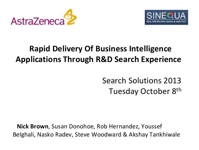 Rapid Delivery Of Business Intelligence Applications Through R&D Search Experience Search Solutions 2013 Tuesday October 8...