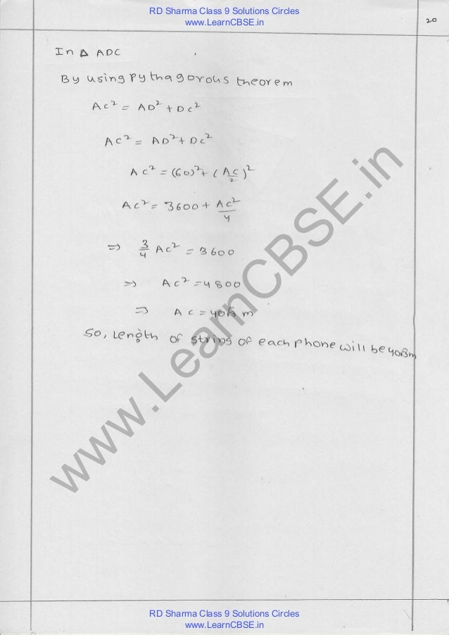 Rd sharma class 9 solutions chapter 16 circles pdf