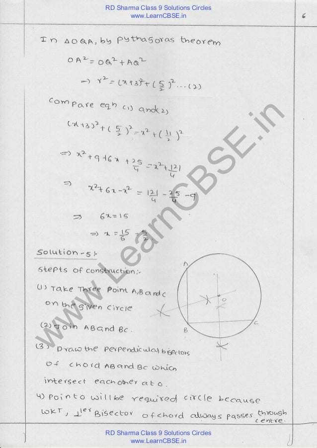 Rd sharma class 9 solutions chapter 16 circles pdf