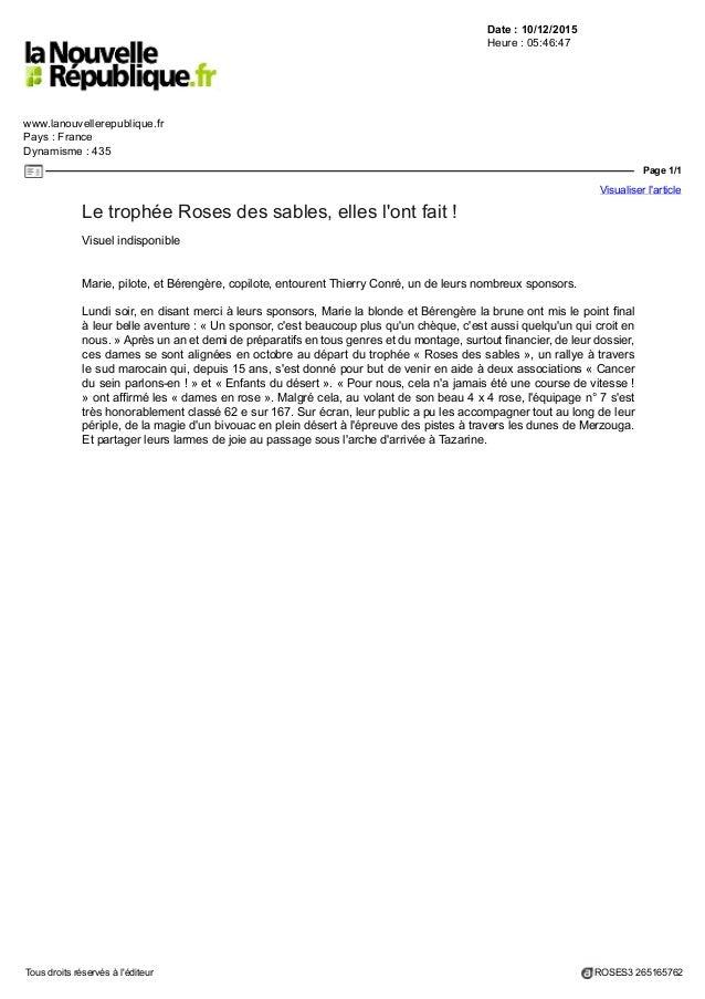 Date : 10/12/2015 Heure : 05:46:47 www.lanouvellerepublique.fr Pays : France Dynamisme : 435 Page 1/1 Visualiser l'article...