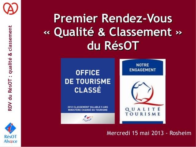 RDVduRésOT:qualité&classementPremier Rendez-VousPremier Rendez-Vous«Qualité«Qualité && Classement»Classement»du RésOT...