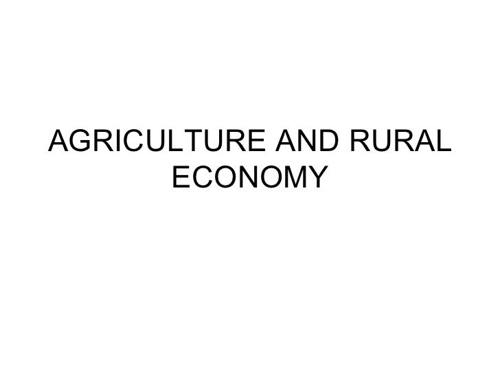AGRICULTURE AND RURAL ECONOMY