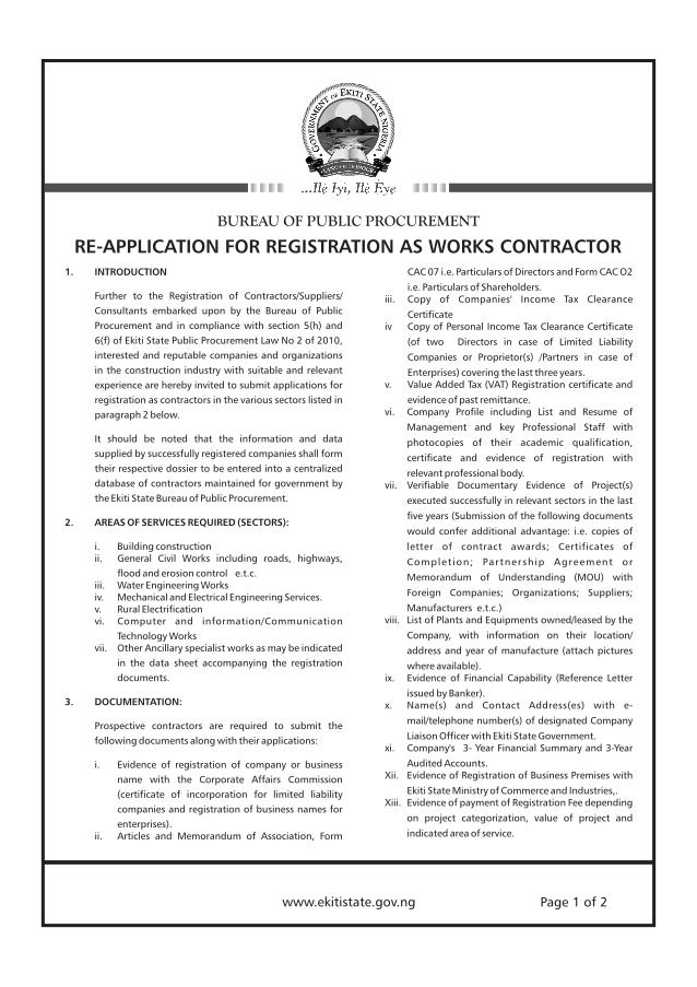 TENDERS: Re-Application For Registration As Works Contractor