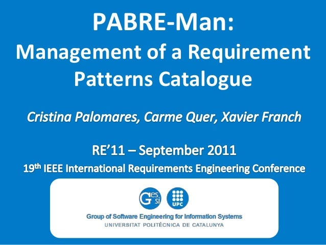 PABRE-Man: Management of a Requirement Patterns Catalogue