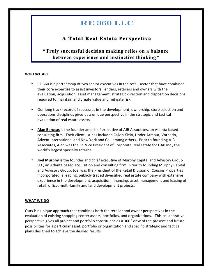 """RE 360 LLC                                    A Total Real Estate Perspective                  """"Truly successful decision ..."""
