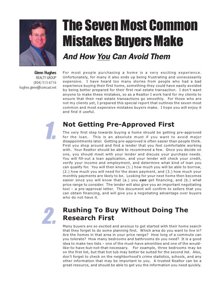 The Seven Most Common                            Mistakes Buyers Make                            And How You Can Avoid The...