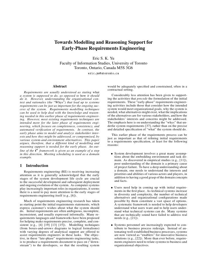 Towards Modelling and Reasoning Support for                             Early-Phase Requirements Engineering              ...