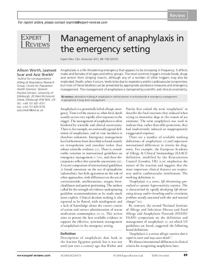 Review For reprint orders, please contact reprints@expert-reviews.com  Management of anaphylaxis in the emergency setting ...