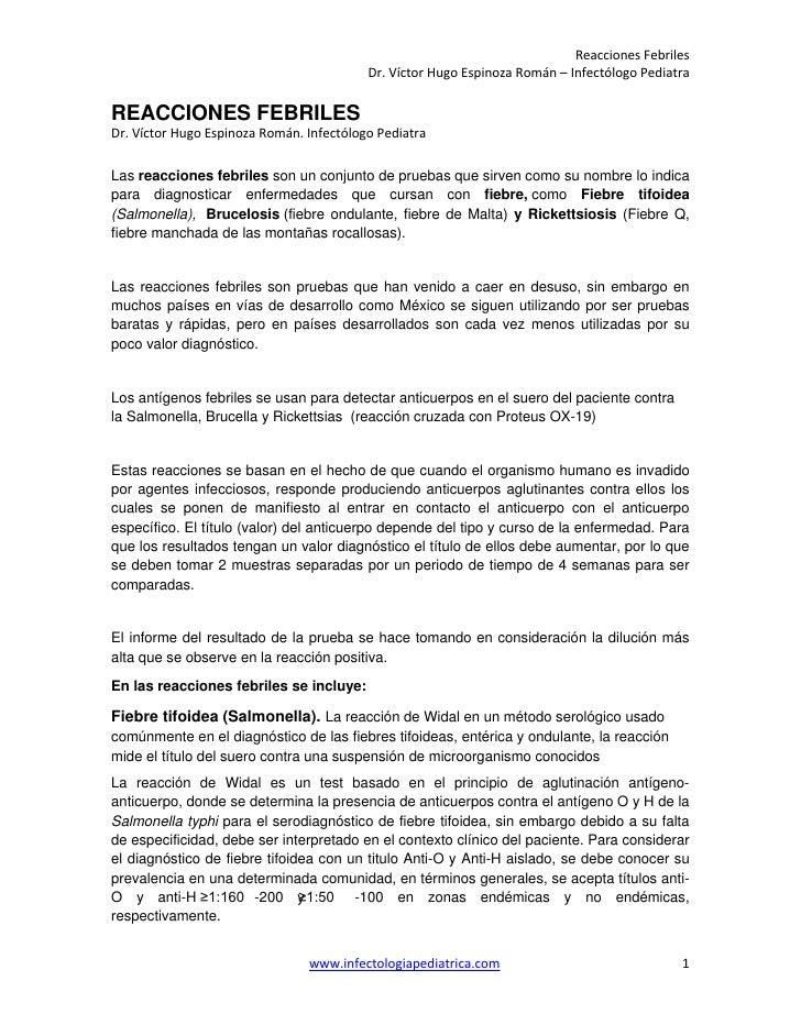 Reacciones Febriles                                          Dr. Víctor Hugo Espinoza Román – Infectólogo PediatraREACCION...