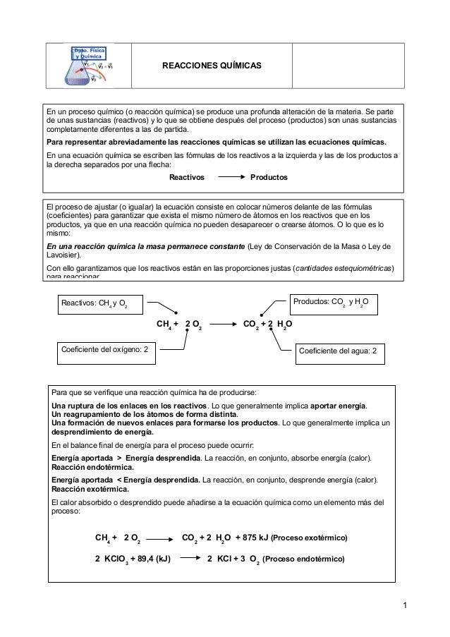 REACCIONES QUÍMICAS 1 En un proceso químico (o reacción química) se produce una profunda alteración de la materia. Se part...