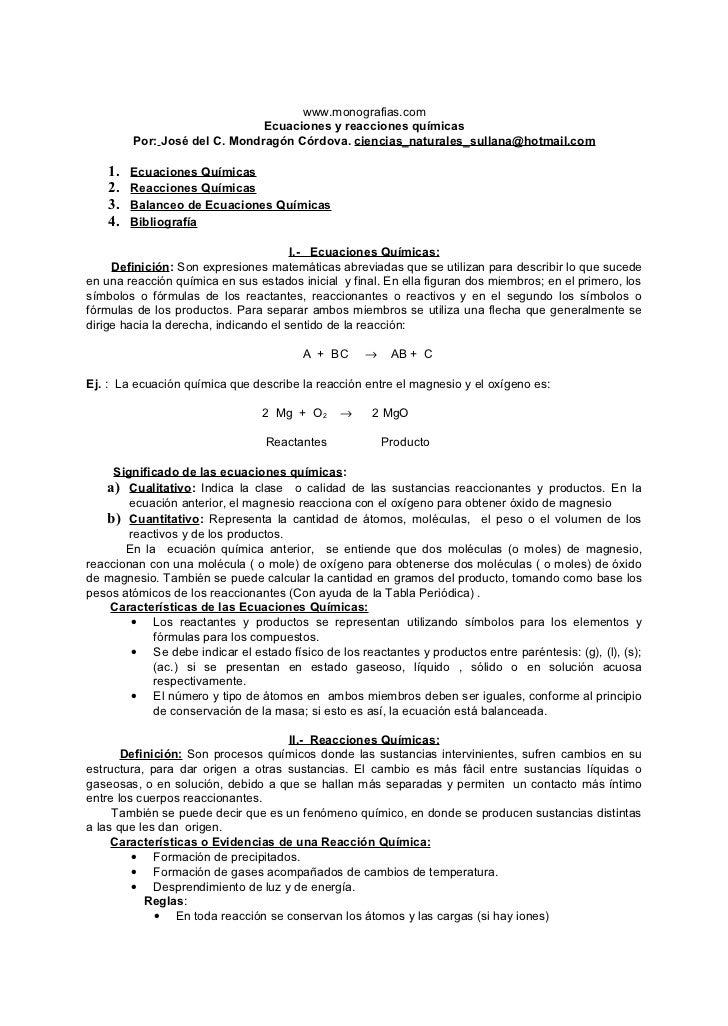 www.monografias.com                                Ecuaciones y reacciones químicas          Por: José del C. Mondragón Có...